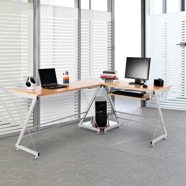 "HomCom L-shaped Computer Desk Workstation with Keyboard Tray 67"" Corner Desk Office Nature Table Home Study CPU Stand 