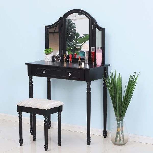 HOMCOM Black Antique Wood Makeup Vanity Table With Mirror And Bench with Stool Tri-Mirror 2 Drawers | Aosom Canada
