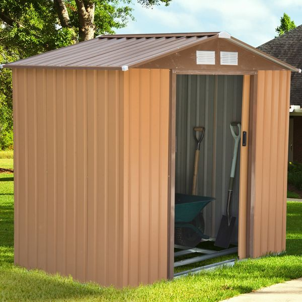Outsunny 7'x4' Garden Storage Shed Outdoor Patio Yard Metal Tool Storage House w/Floor Foundation|Aosom Canada
