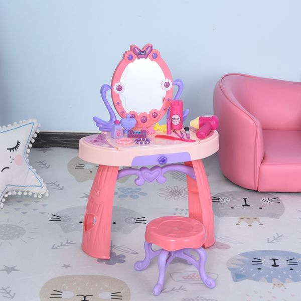 Qaba/HOMCOM Kids Vanity Table and Stool Beauty Pretend Play Set with Mirror Lights Sounds & Pretend Beauty Makeup Accessories for Girls 3+ Years Old Pink | Aosom Canada