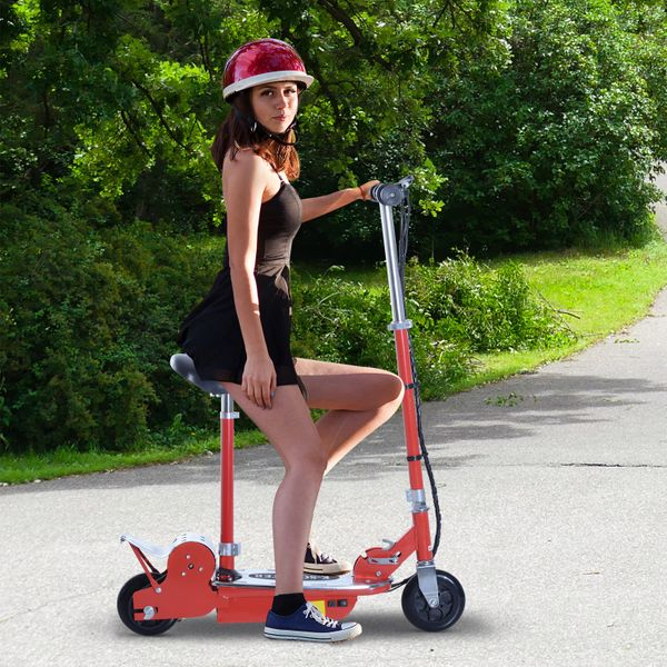 Qaba Adjustable Folding Electric Seated E-Scooter Battery Powered Motorized Bike Electric Scooter with Seat Red|Aosom Canada