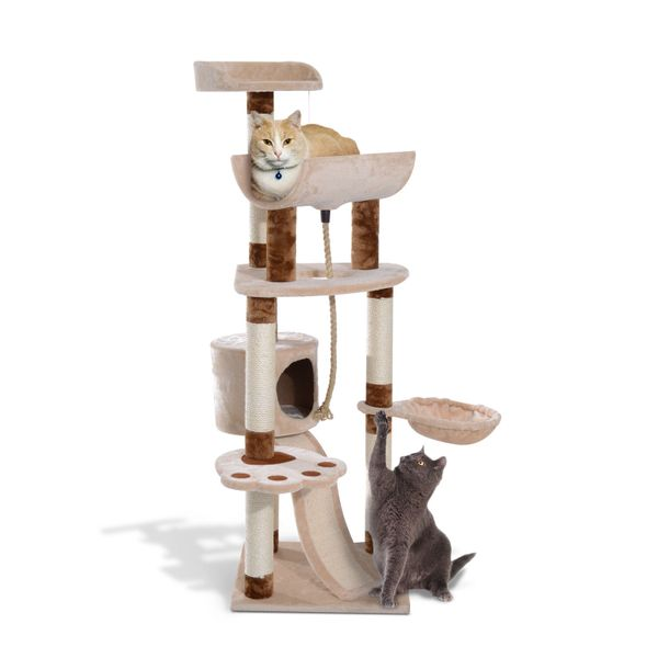 "PawHut 57"" Cat Tree Tower Pet House Furniture Kitty Pet Play Scratching Post With Cave W/ Condo, Beige