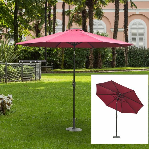 Outsunny Sun Umbrella Patio Shade Shelter Outdoor Garden Steel Parasol Canopy Adjustable Portable Yard Wine Red | Aosom Canada