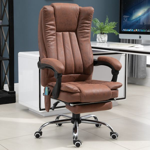 Vinsetto 6-point Vibration Massage Chair Faux Leather Heating Recliner with Retractable Footrest Brown|AOSOM.CA