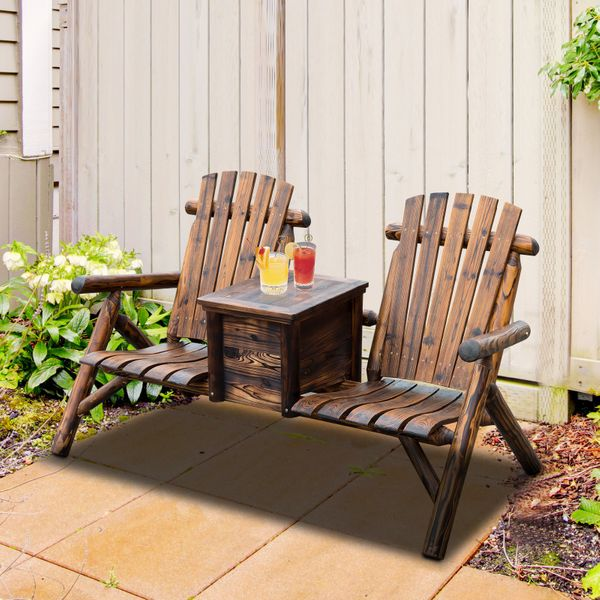 Outsunny Wooden Double Adirondack Chair Loveseat with Ice Bucket Rustic Brown Seat w/ Carbonized | Aosom Canada