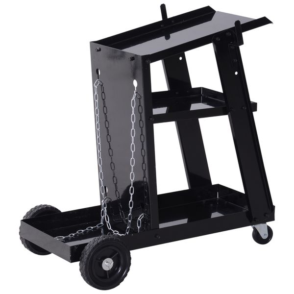 DURHAND Welding Cart 3 Tier Welder Trolley Garage Welding/Plasma Cutter Cart for Tanks Gas Bottles w/ Safety Chain Black|Aosom Canada