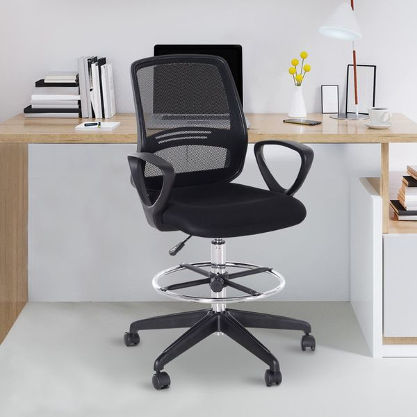 Vinsetto Drafting Chair Tall Office Chair Ergonomic Mesh Back with Adjustable Height and Footrest 360° Swivel | Aosom Canada
