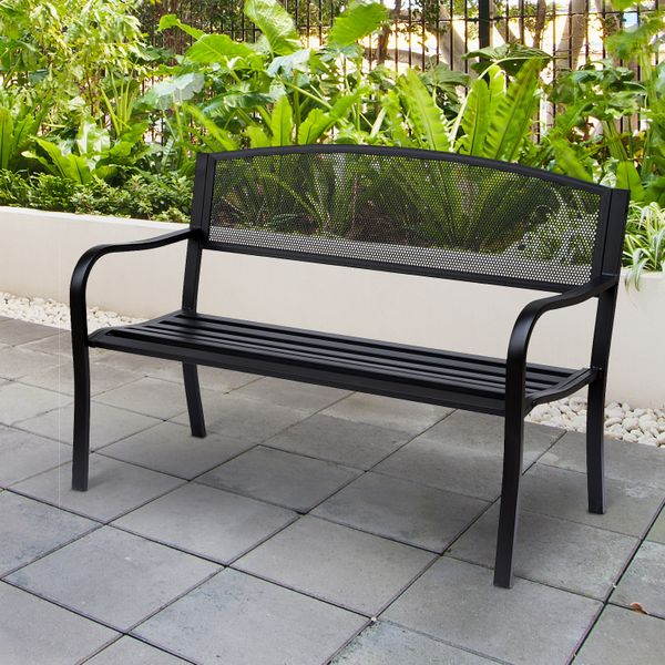 Outsunny Outdoor Patio 2-Person Garden Bench Park Bench Yard Furniture Loveseat Steel Frame Black|AOSOM.CA