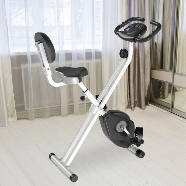 Soozier Foldable Upright Training Exercise Bike Indoor Stationary X Bike with 8 Levels of Magnetic Resistance for Aerobic Exercise, Black X-Bike | Aosom Canada