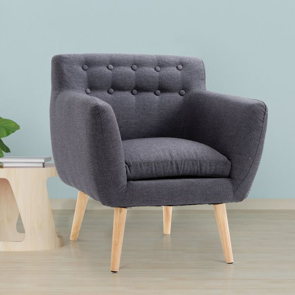HOMCOM Mid-Century Modern Accent Arm Chair Linen Upholstery Tufted Seat with Wood Frame Thick Padded Dark Grey