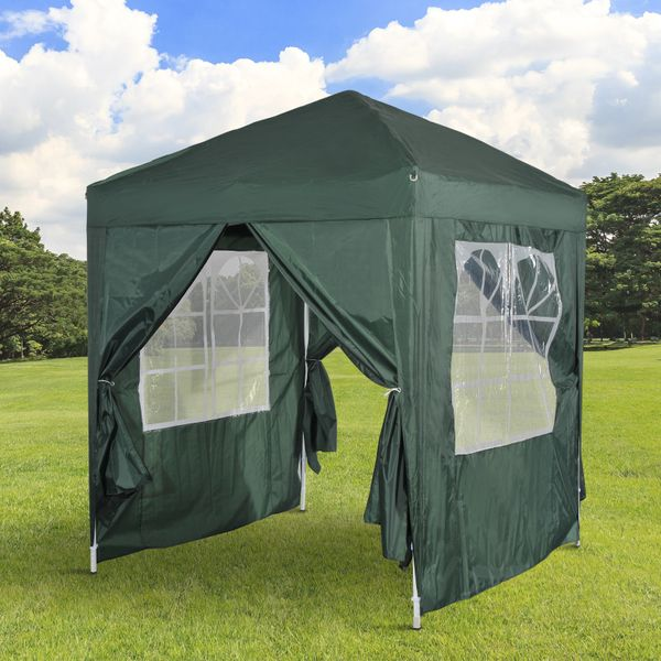 Outsunny 6.6x6.6ft Pop Up Gazebo Party Wedding Tent Portable Marquee Pavilion Outdoor Green