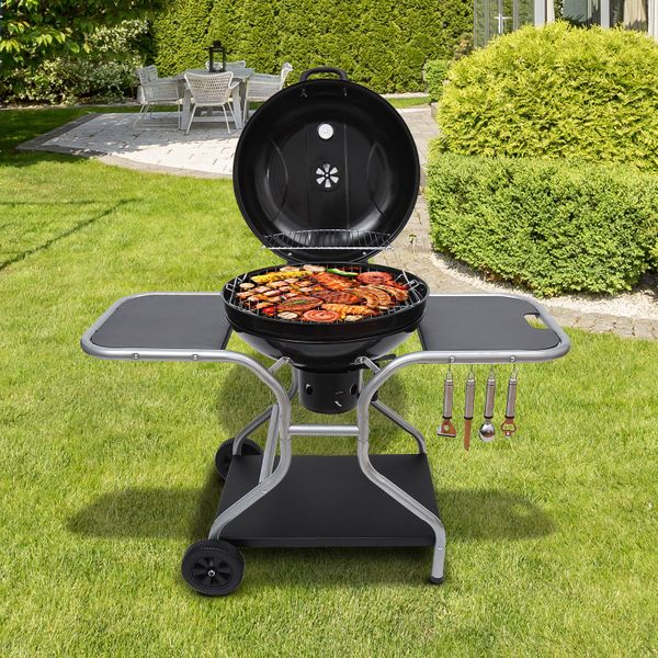 Outsunny Portable Charcoal Kettle Grill Outdoor Folding Barbecue Trolley BBQ Heat Smoker Grilling with Free Standing | Aosom Canada