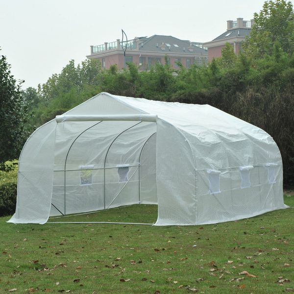 Outsunny 15'x10'x7' Heavy Duty Walk-in Tunnel Greenhouse for Plants and Flowers White | Aosom Canada