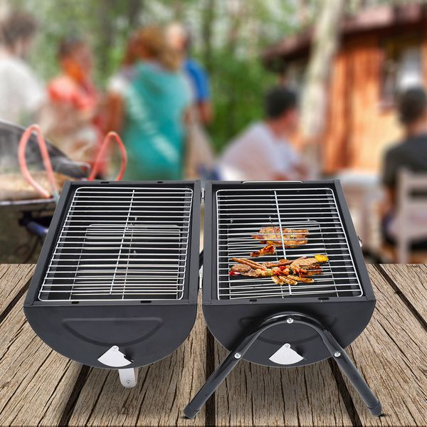Outsunny Tabletop Portable Charcoal Grill Outdoor Folding Barbecue Grill BBQ Heat Smoker Grilling