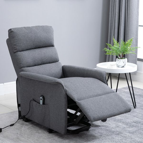 HOMCOM Electric Power Lift Recliner Chair Lounge with Remote Control and Wheels Linen Fabric Living Room Furniture Grey | Aosom Canada