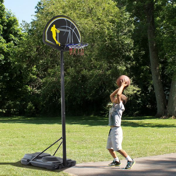 "Soozier Height Adjustable 28"" Backboard Portable Basketball Hoop System 6.5'-10' Youth Kids Outdoor Basketball Stand w/ Net and Wheels 