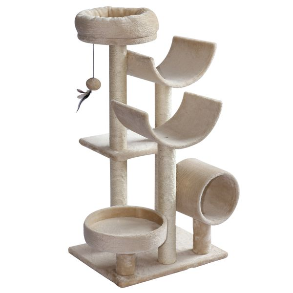 "PawHut 41"" Multi-Level Large Cat Tree Scratcher Perch Tunnel w/ Dangling Ball