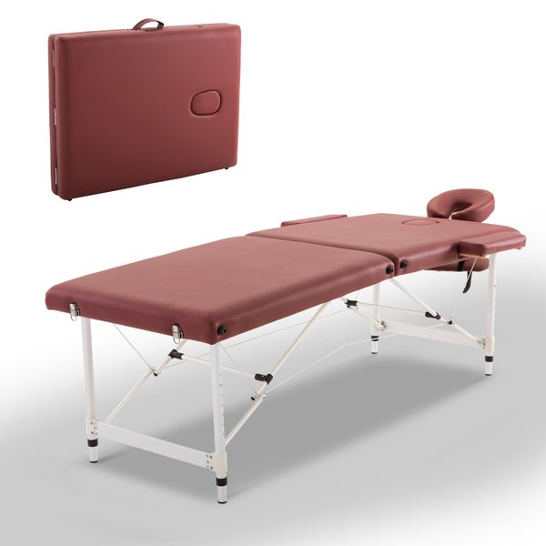 "HOMCOM 2 Section Massage Table w/ Carry Case Adjustable Spa Facial Couch 73"" Portable Foldable Professional Salon Tatoo Bed with Bag Red 