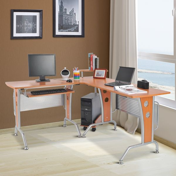 "HOMCOM 67"" Modern L-Shaped Corner Computer Desk Office Workstation PC Table with Rack 