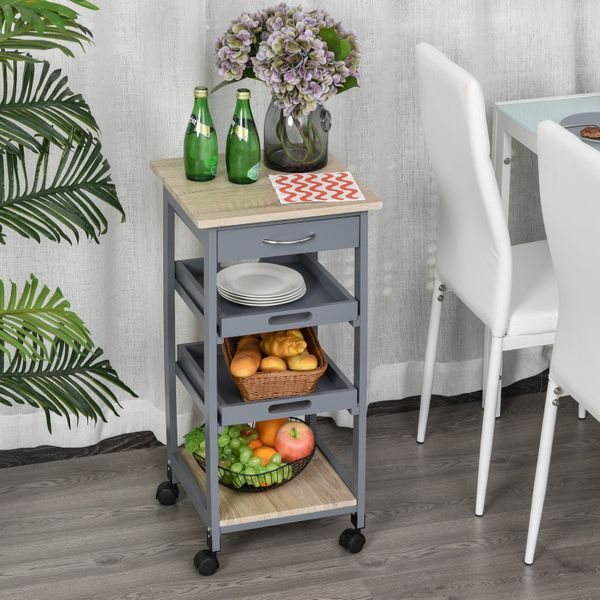 HOMCOM Kitchen Island Rolling Trolley Utility Serving Cart with Drawer  Grey