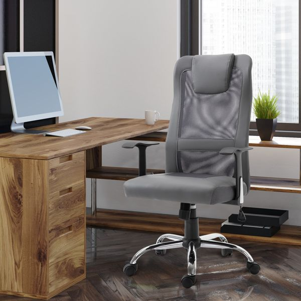 Vinsetto High Back Mesh Office Chair Ergonomic Computer Desk Seat Thick Padded Headrest with Armrest, Grey