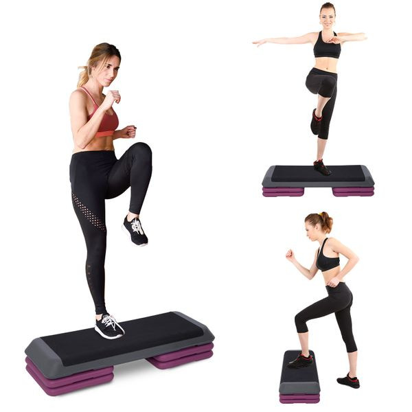 """Soozier 43"""" Aerobic Steeper Cardio Workout Exercise Adjustable Platform Stepper Trainer with Risers Purple 