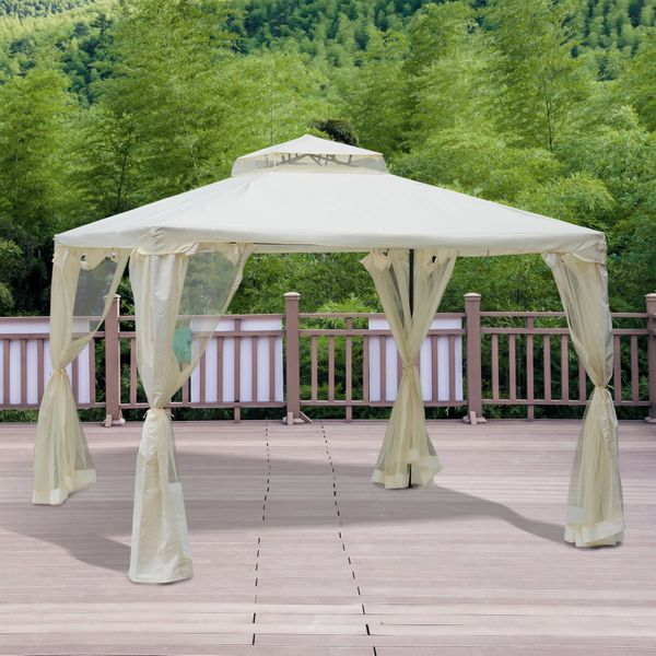 Outsunny 9.7' Outdoor Patio Gazebo Pavilion Canopy Tent Steel 2-tier Roof with Netting | Aosom Canada