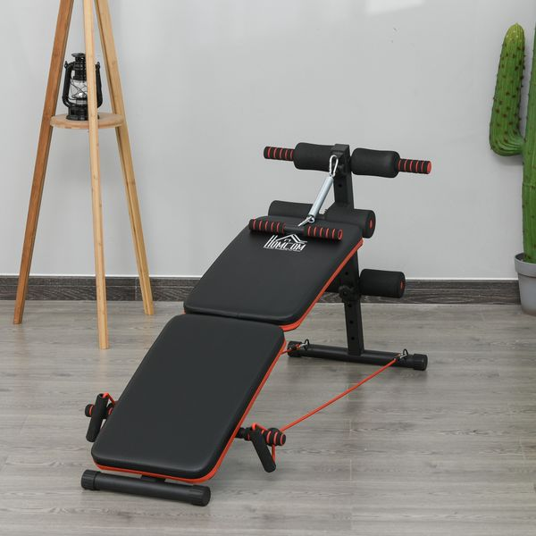 Soozier Foldable Sit Up Bench Core Workout for Home Gym Black