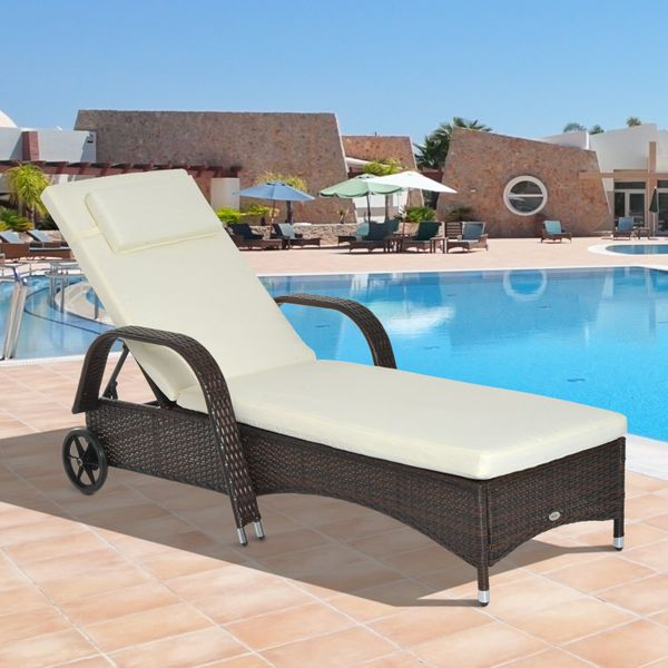 Outsunny Adjustable Wicker Sun Lounger Outdoor Recliner Chair Garden Furniture with Cushion|AOSOM.CA