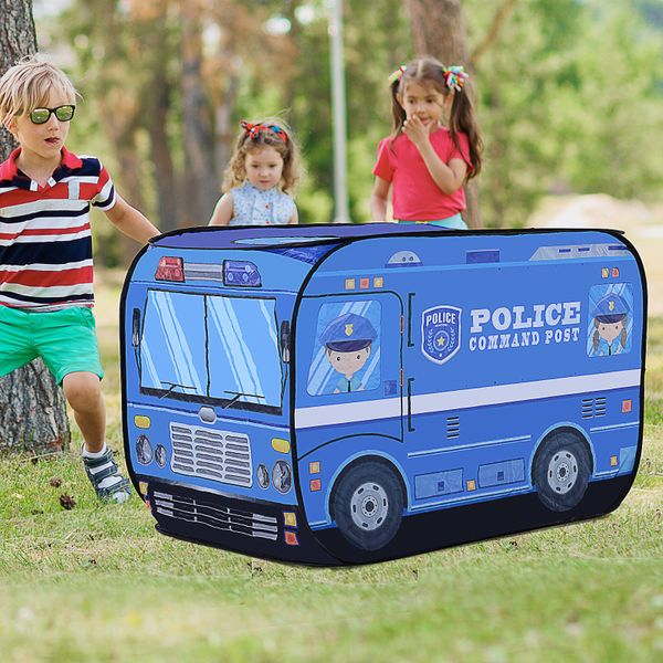 Qaba Kids Police Car Play Tent w/ top opening Pop-up Foldable Blue|Aosom Canada
