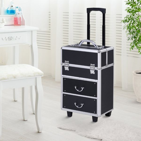Soozier Makeup Suitcase 4 Tier Makeup Train Case Professional Aluminum Storage Box Rolling Salon Beauty Cosmetic Jewelry Organizer Trolley with 2 Wheels Lockable Black | Aosom Canada