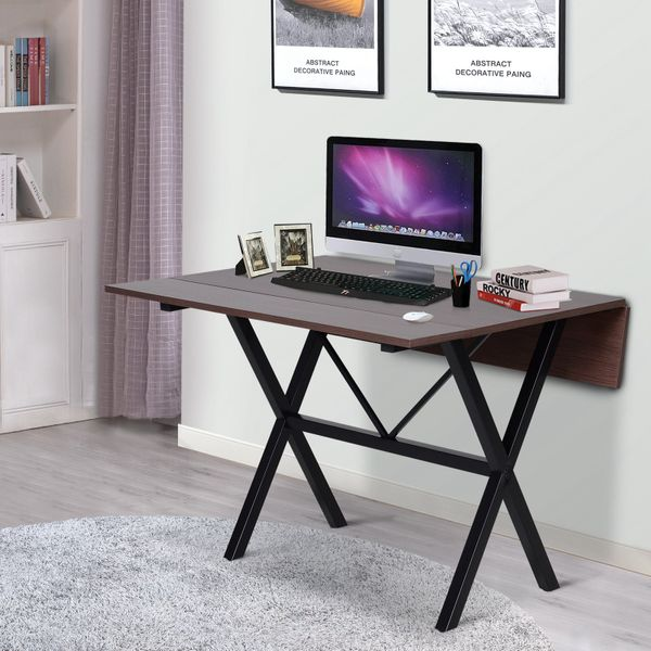 HOMCOM Drop Leaf Folding  6-person Dining Table Computer End Side Desk|Aosom Canada