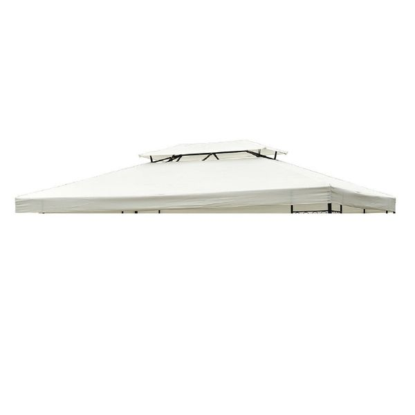 """Outsunny Gazebo Replacement Canopy 13"""" x 10"""" 2 Tier Water-resistant Top UV Cover Garden Roof Pavilion Cream White  