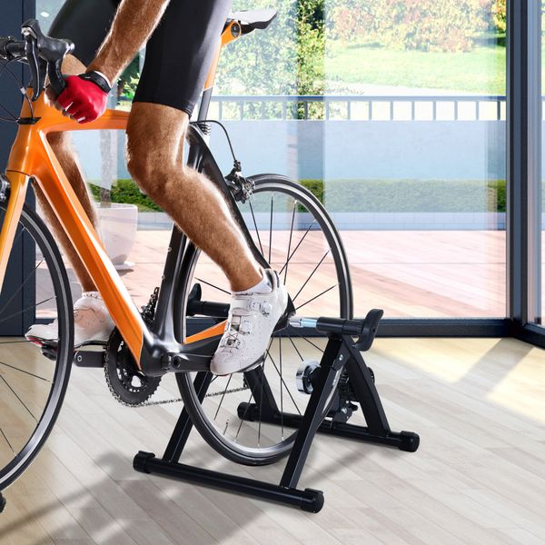 Soozier Indoor Bicycle Bike Trainer Stand Exercise Fan Fly Wind Wheel Folding Turbo Black