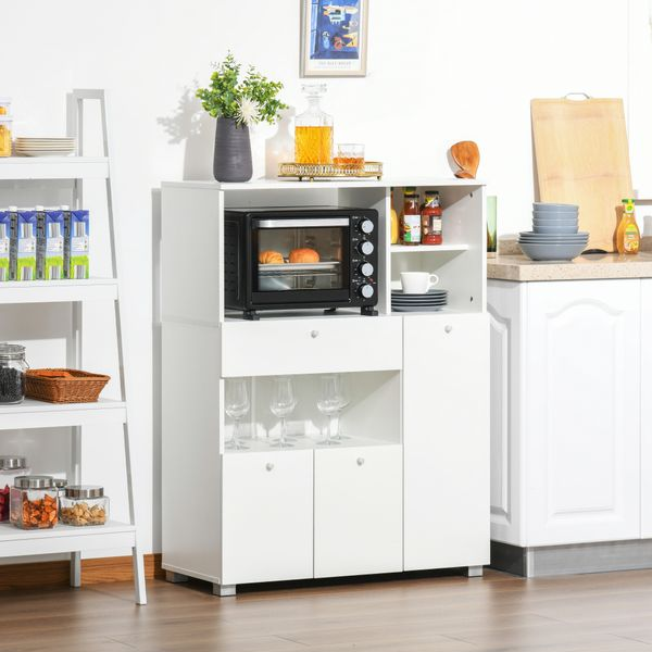 HOMCOM Compact Kitchen Pantry Buffet Server Hutch Storage Cabinet  with Microwave Oven Stand Drawer and Shelves, White