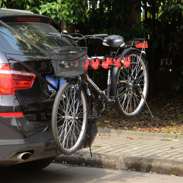HOMCOM Deluxe 3 Bike Trunk Mount Rack Foldable Universal Bicycle Carrier Fits Most Sedans Hatchbacks Minivans SUVs|Aosom Canada