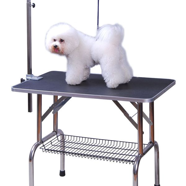 "PawHut Folding Pet Grooming Table with Storage Basket Quality Guarantee 36"" Large Stainless Steel Dog Cat Portable Adjustable Grooming Table Black 
