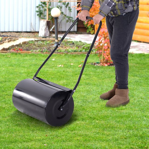 """DURHAND 20"""" Heavy Duty Push/Tow Poly Lawn Roller Garden Roller Filled w/ Water or Sand"""