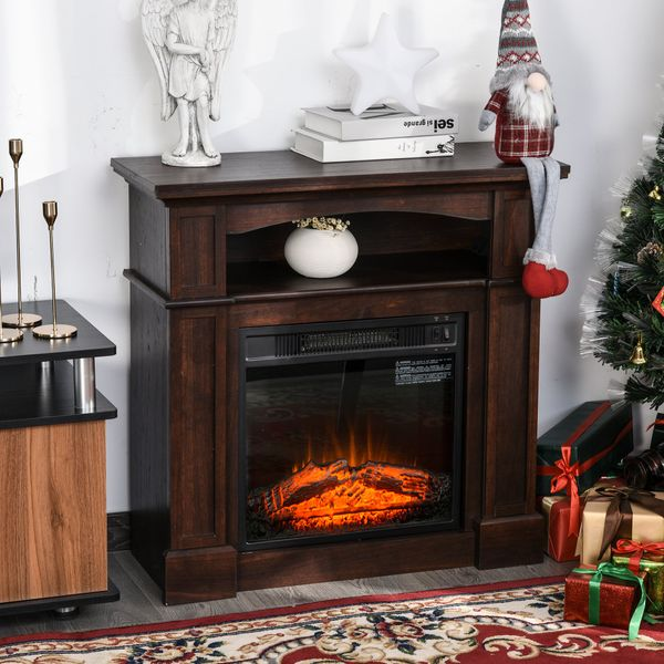 HOMCOM Electric Fireplace Realistic Flame Remote Control Freestanding 1500W Space Heater Wood Mantel Stove with Home Decor Dark Coffee | Aosom Canada