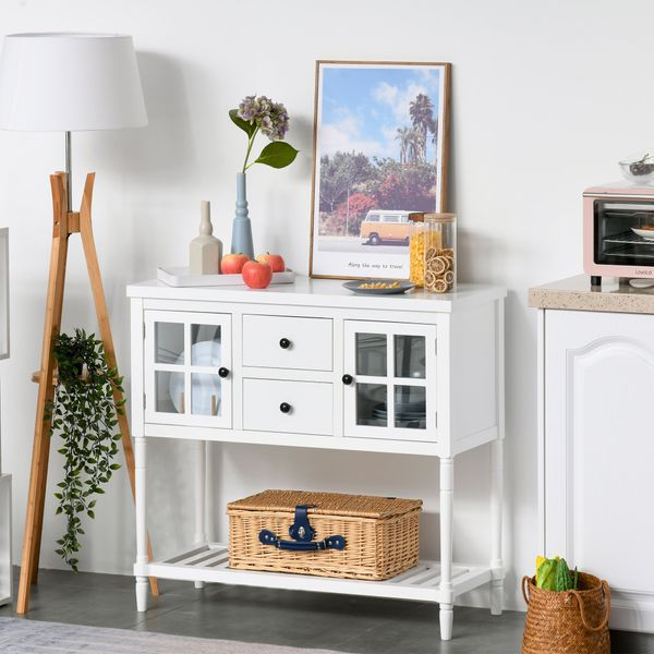 HOMCOM 2-Drawer Entryway Console Table Accent Desk with Glass Doors & Slatted Shelf   Aosom Canada