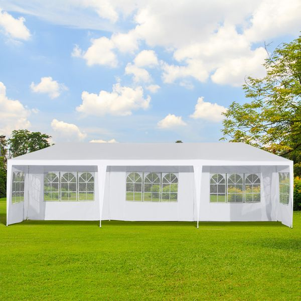 Outsunny 10x30ft Wedding Party Gazebo Tent Portable Folding Wedding Garden Canopy Event Shelter Outdoor Sunshade with 5 Removable Walls White   Aosom Canada