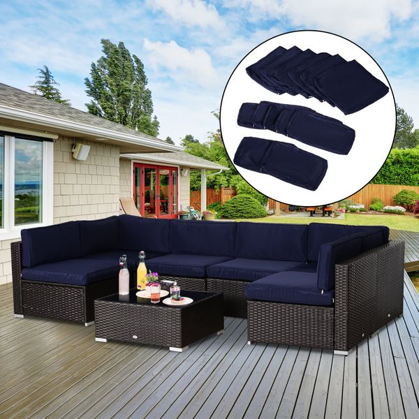 Outsunny Outdoor Patio Rattan Sofa Set Cushion Polyester Cover Replacement- No Cushion Included Replacement Only Blue | Aosom Canada