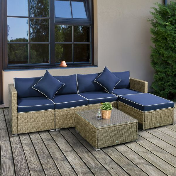 Outsunny 6 Piece Outdoor Patio Wicker Sofa Set Sectional Furniture Chair Conversation Set with Cushions and Tea Table  Navy Blue 6-Piece w/   Aosom Canada
