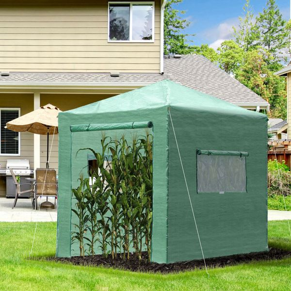 Outsunny 8' x 6' Portable Walk in Greenhouse with Roll-up Door & 2 Windows Outdoor for Plants Garden Foldable Green House  Green   Aosom Canada