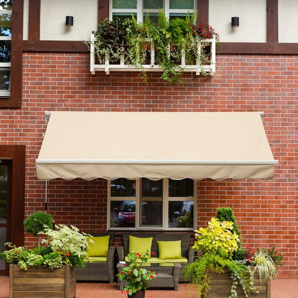 Outsunny 13'x8' Aluminum Frame Manual Retractable Waterproof Sun Shade Patio Awning Outdoor Deck Canopy Water-resistant Shelter Khaki |Aosom Canada