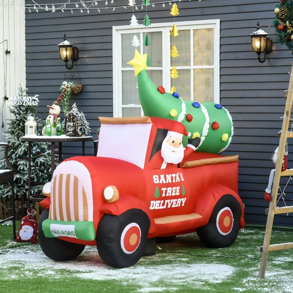 HOMCOM 5.9Ft Inflatable Truck with Christmas Tree for Indoors & Outdoors with LED Lights