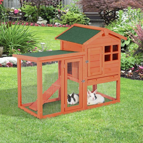 """PawHut 48"""" x 24"""" x 36"""" Deluxe Waterproof Rabbit Hutch Wooden Bunny Cage Small Animal House with Ladder and Run"""