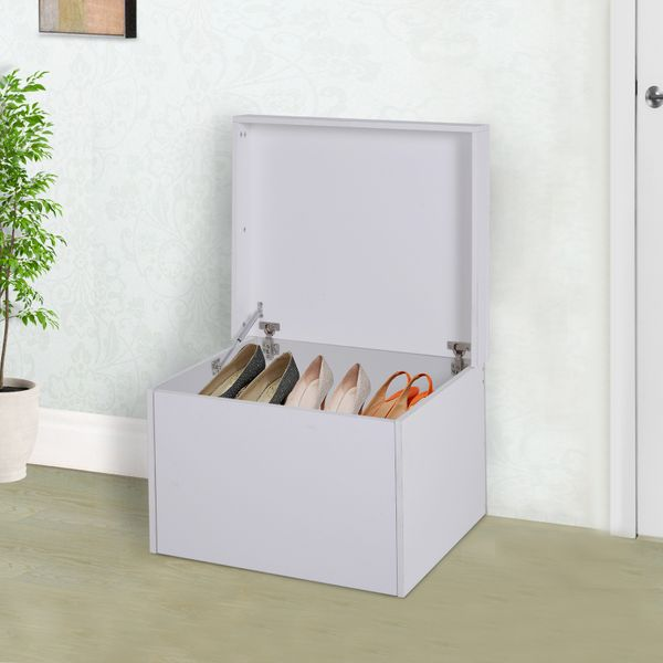 HOMCOM Ample Capacity Shoe Cabinet Box Bench w/ Drawers Particleboard White|Aosom Canada