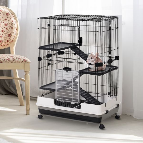 PawHut 3 Tier Rabbit Cage Indoor Rolling Small Animal Crate Hamster House Ferrets Chinchillas Hutch Pull Out Tray with Wheels Pet Furniture