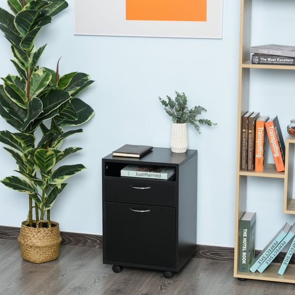 """HOMCOM 24"""" Rolling File Cabinet with Drawer Wheeled Documents Storage Printer Stand with Shelf Home Office Black"""